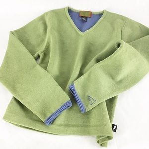Horny Toad Wool  V Neck Green Sweater